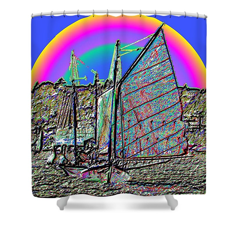 Seattle Shower Curtain featuring the photograph Lake Union Rainbow Sail by Tim Allen