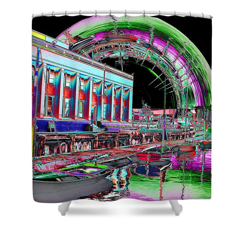 Seattle Shower Curtain featuring the photograph Lake Union Rainbow by Tim Allen