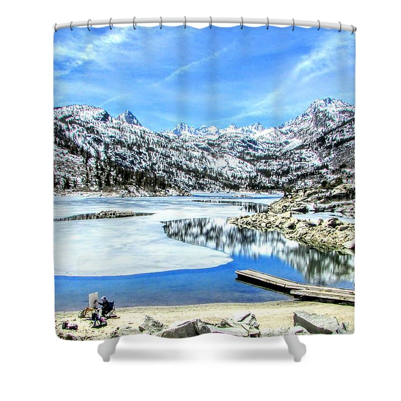 Sky Shower Curtain featuring the photograph Lake Visions by Marilyn Diaz