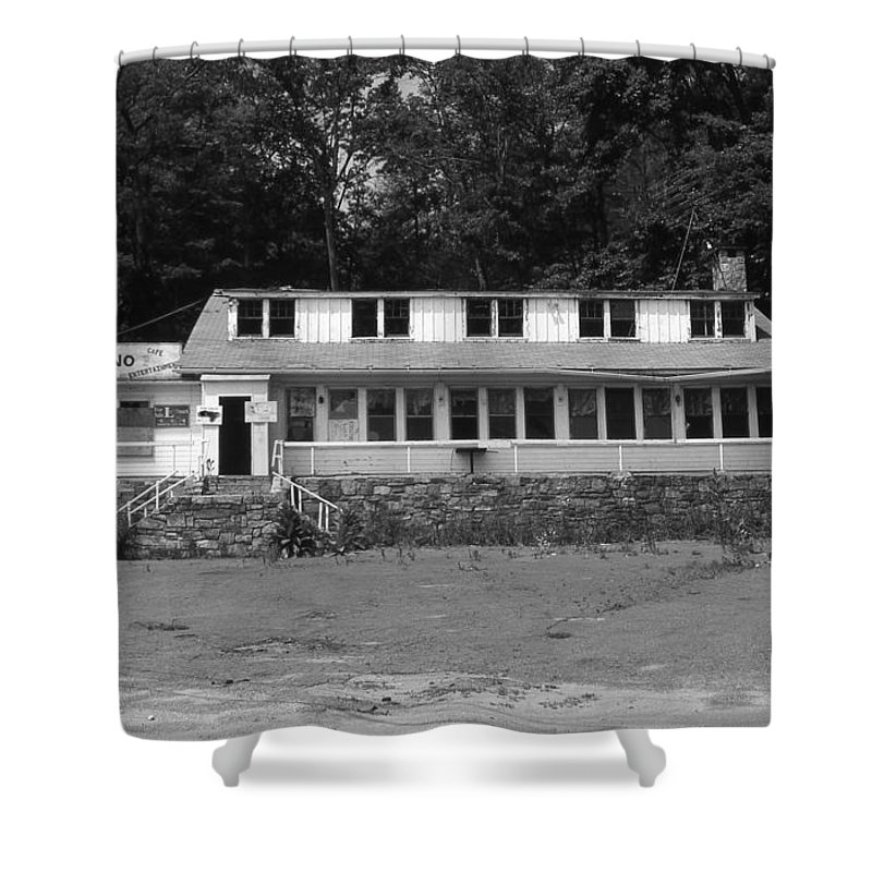 Connecticut Shower Curtain featuring the photograph Lake Waramaug Casino by Richard Rizzo