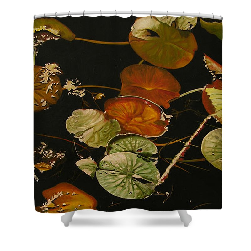 Lily Pad Shower Curtain featuring the painting Lake Washington Lily Pad 15 by Thu Nguyen