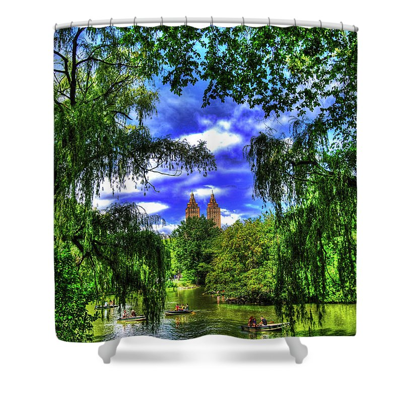 Manhattan Shower Curtain featuring the photograph Lakeboat In Central Park Too by Randy Aveille
