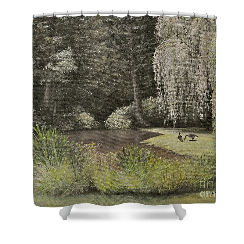 Jennerstown Mountain Playhouse Shower Curtain featuring the painting Lakeside At Mountain Playhouse by Penny Neimiller