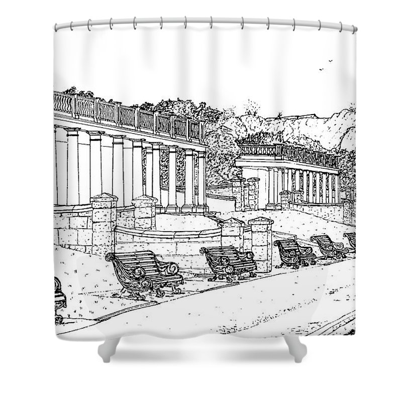 Scenic Drawing Shower Curtain featuring the drawing Lakeside. Barry by Frank Hamilton