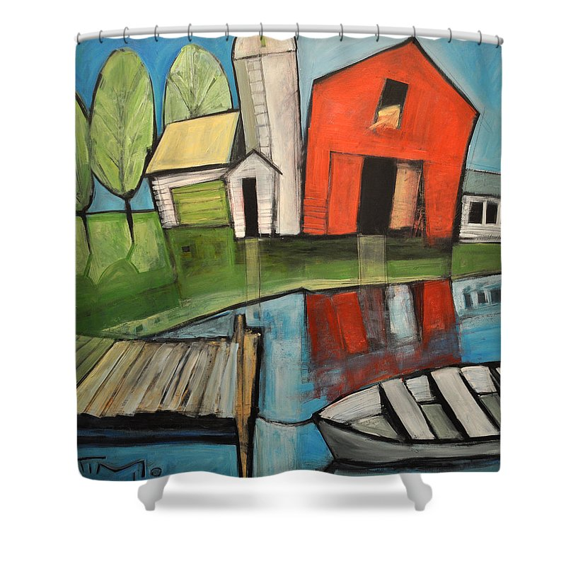 Farm Shower Curtain featuring the painting Lakeside Farm by Tim Nyberg