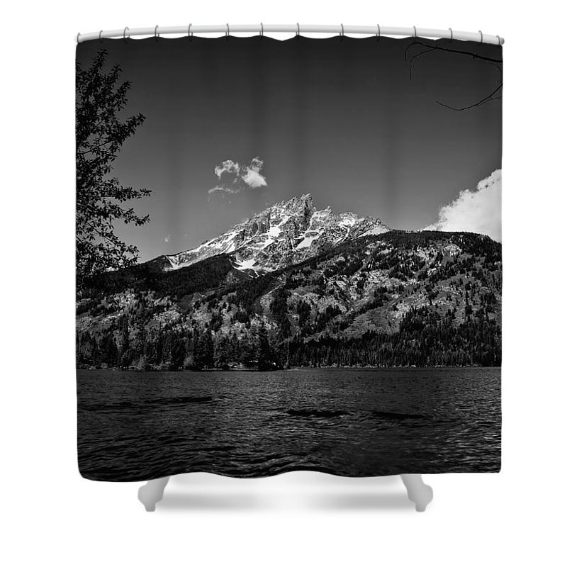 Black And White Shower Curtain featuring the photograph Lakeside by John K Sampson