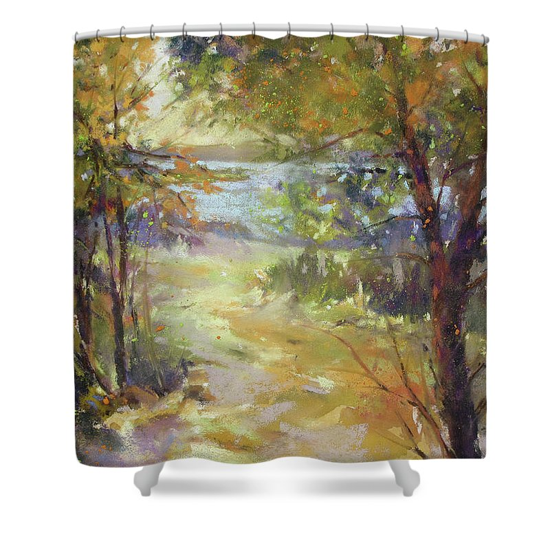 Landscape Shower Curtain featuring the painting Lakeside Sunglow by Rae Andrews