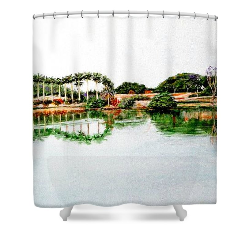 Lakeview Reflections Shower Curtain featuring the painting Lakeview Reflections by Usha Shantharam
