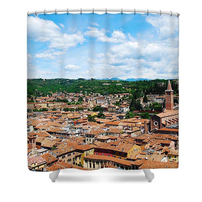 Verona Shower Curtain featuring the photograph Lamberti Tower View Of Verona Italy by Just Eclectic