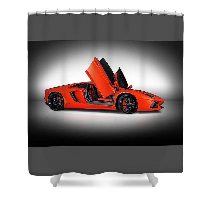 Lamborghini Aventador Doors Up Shower Curtain For Sale By Bill Brock