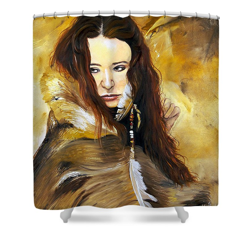 Southwest Art Shower Curtain featuring the painting Lament by J W Baker