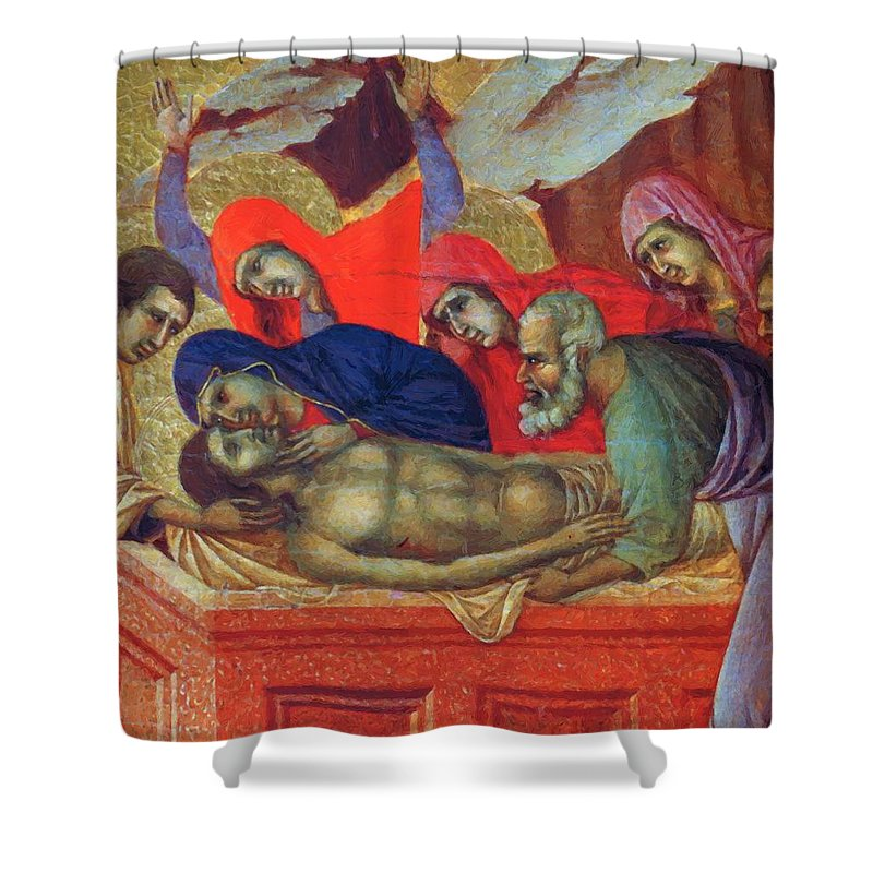 Lamentation Shower Curtain featuring the painting Lamentation Of Christ Fragment 1311 by Duccio
