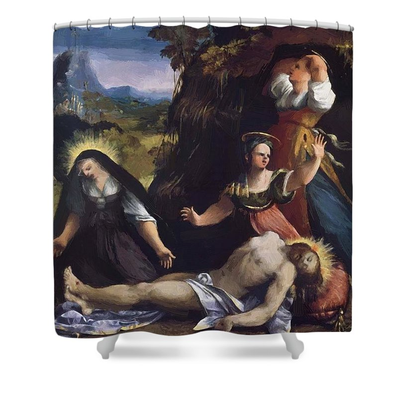 Lamentation Shower Curtain featuring the painting Lamentation Over The Body Of Christ 1517 by Dossi Dosso