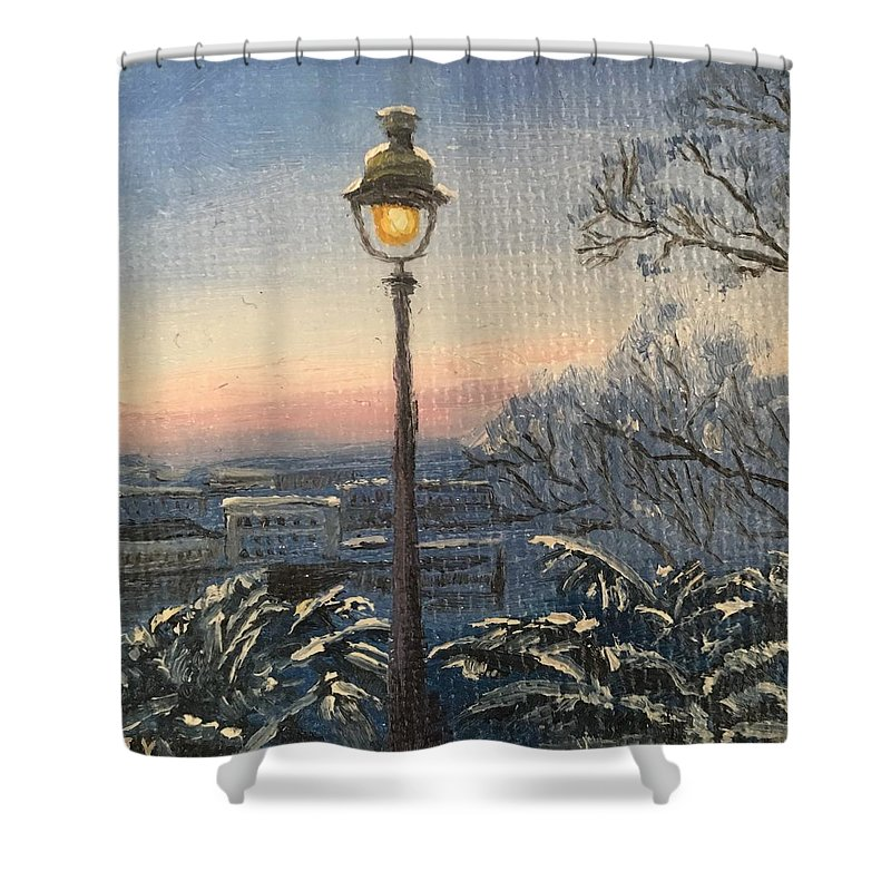 Winter Shower Curtain featuring the painting Lamp by Jie Yang