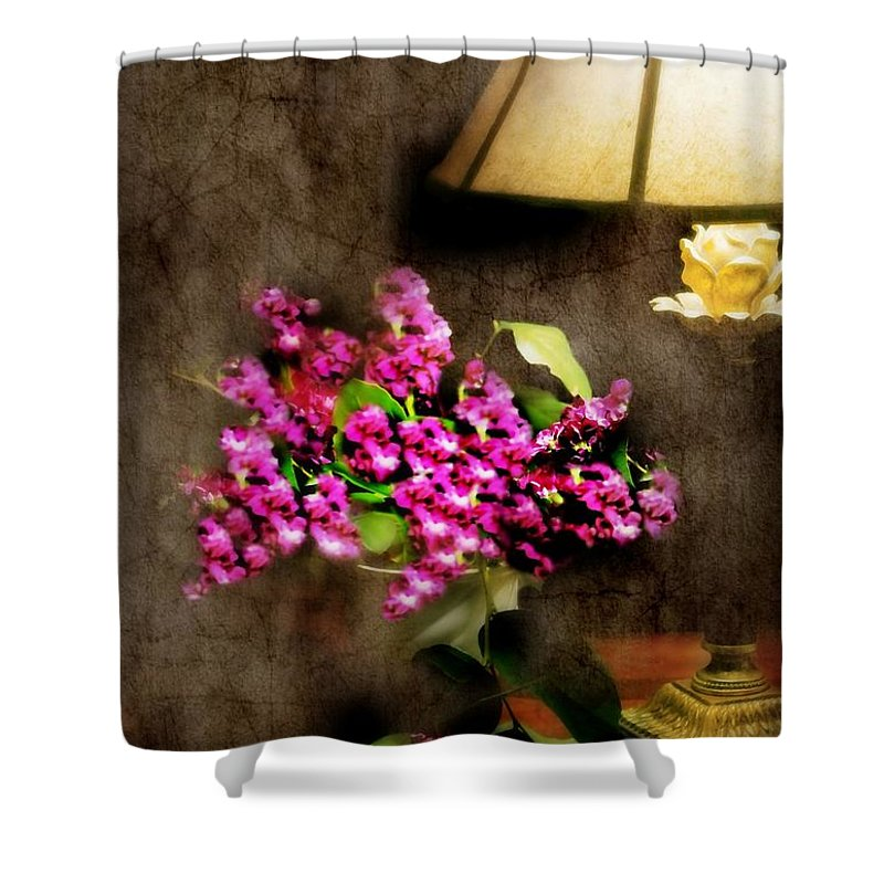 Still Life Shower Curtain featuring the photograph Lamp Light by Diana Angstadt