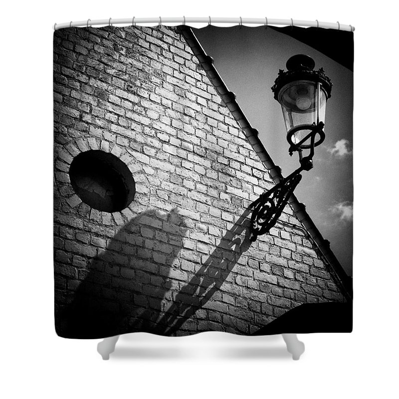 Lamp Shower Curtain featuring the photograph Lamp With Shadow by Dave Bowman