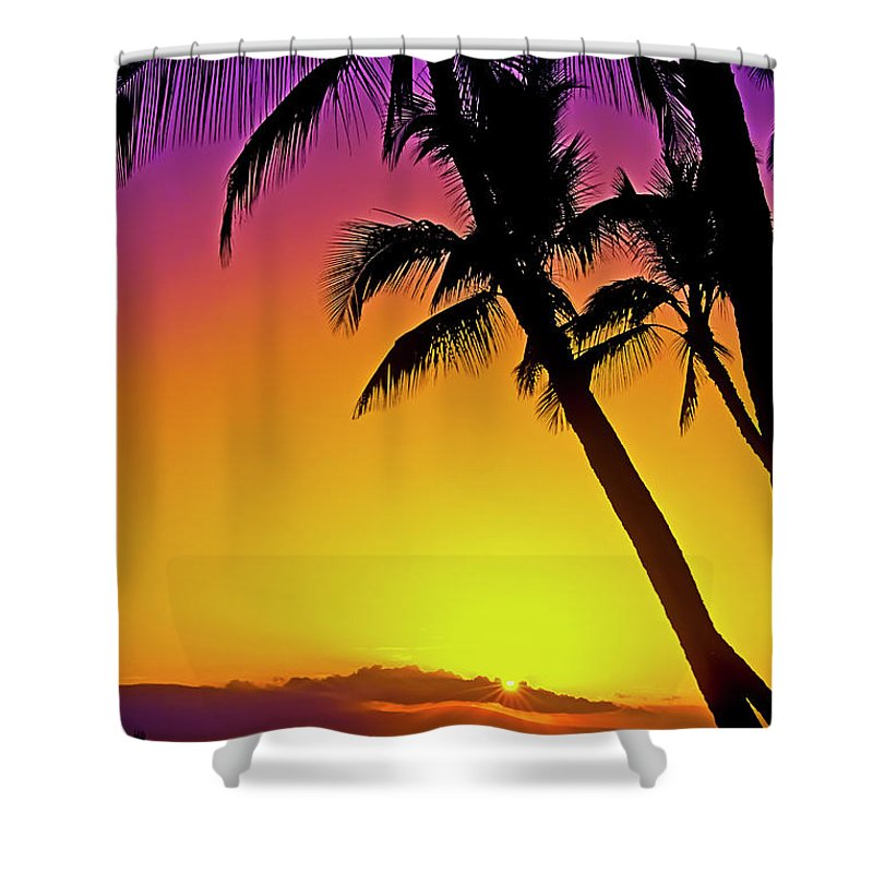 Sunset Shower Curtain featuring the photograph Lanai Sunset II Maui Hawaii by Jim Cazel