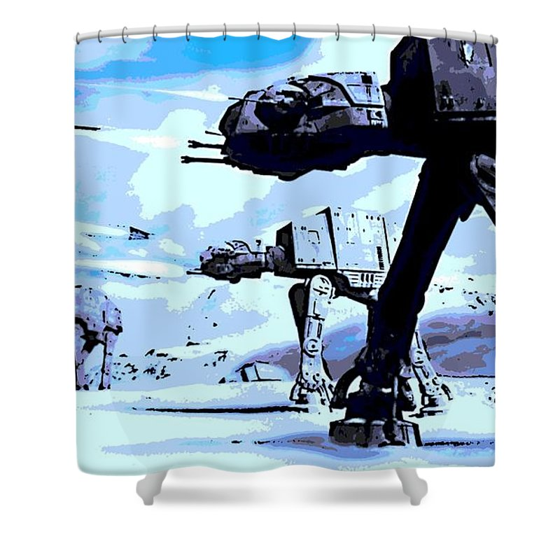 Land Battle Shower Curtain featuring the digital art Land Battle by George Pedro