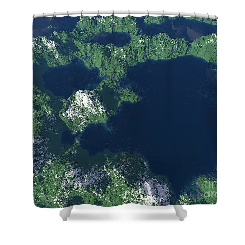 Craters Shower Curtain featuring the digital art Land Of A Thousand Lakes by Gaspar Avila