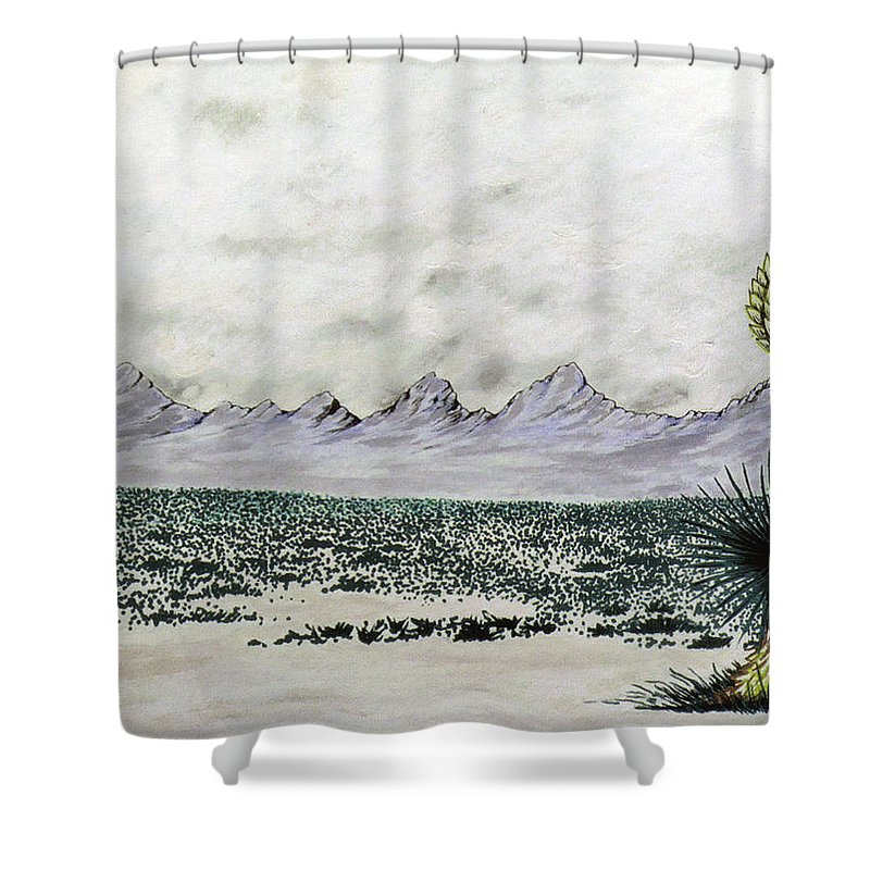 Desertscape Shower Curtain featuring the painting Land of Enchantment by Marco Morales