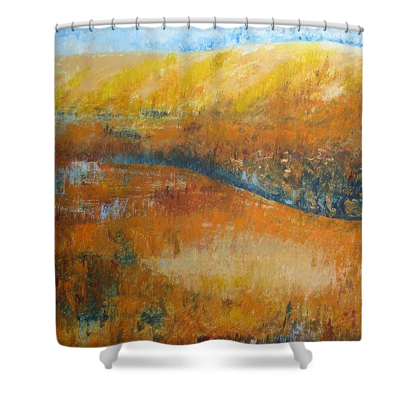 Landscape Shower Curtain featuring the painting Land Of Richness by Stella Velka