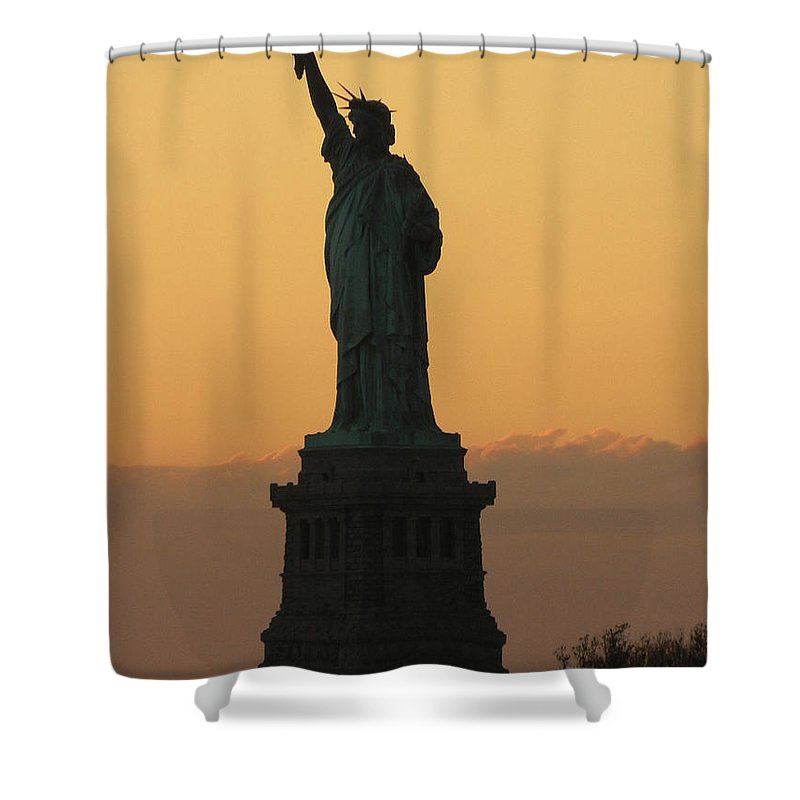 Statue Of Liberty Shower Curtain featuring the photograph Land Of The Free And The Brave by Emmy Vickers