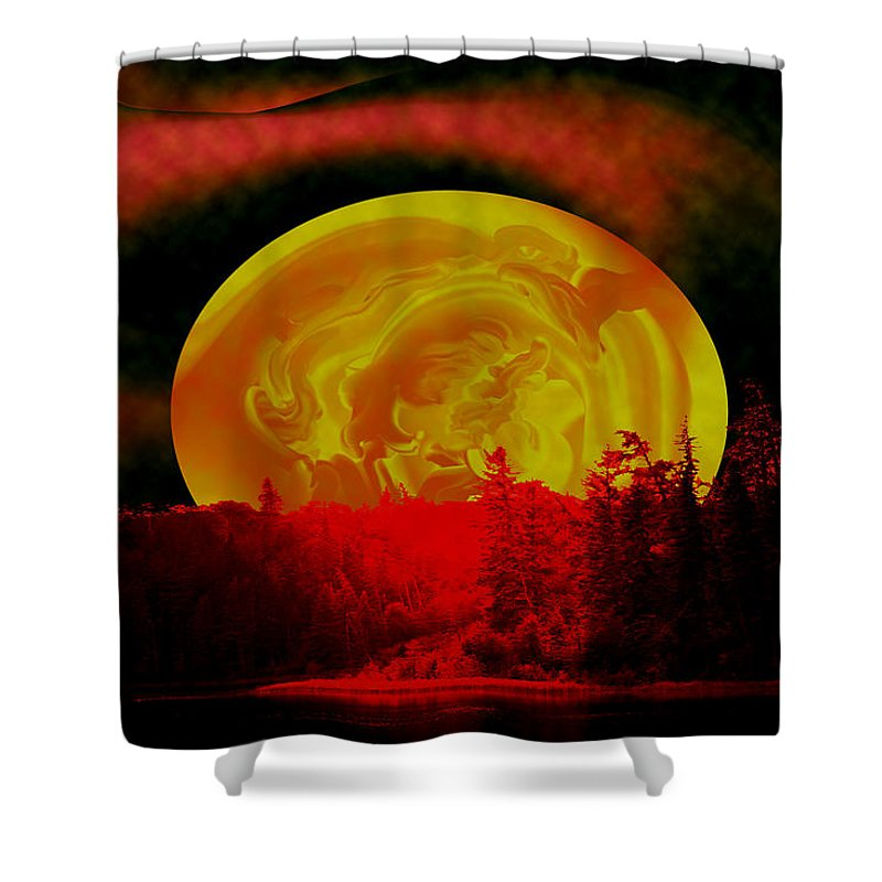 Moon Shower Curtain featuring the photograph Land Of The Living Skies by Andrea Lawrence