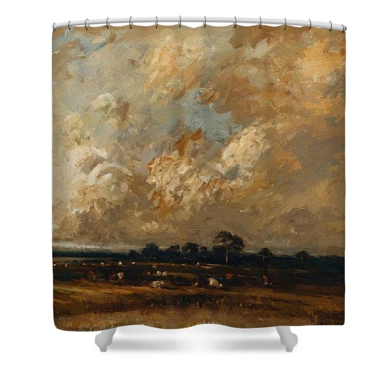 Landscape Shower Curtain featuring the painting Landscape 1870 by Dupre Jules