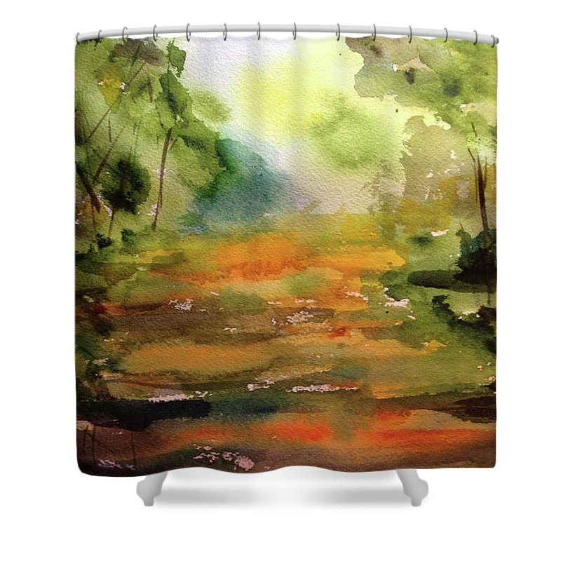 Landscape Shower Curtain featuring the painting Miles To Go Before I Sleep by Bonny Butler