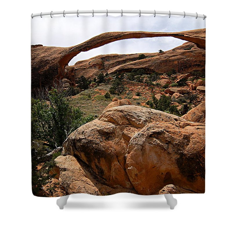 Arches National Park Shower Curtain featuring the photograph Landscape Arch -- Arches National Park by Larry Ricker