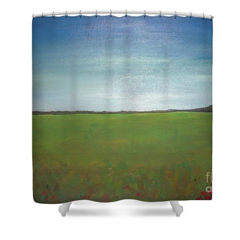 Landscape Shower Curtain featuring the painting Landscape II by Vesna Antic