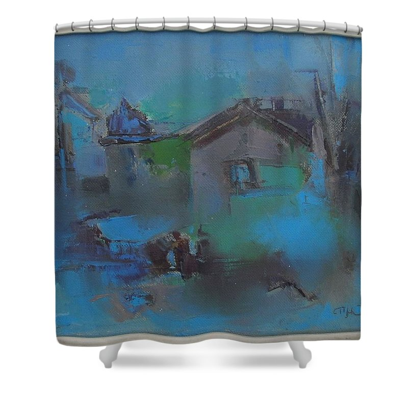 Landscape Shower Curtain featuring the painting Landscape In Blue by Pemaro