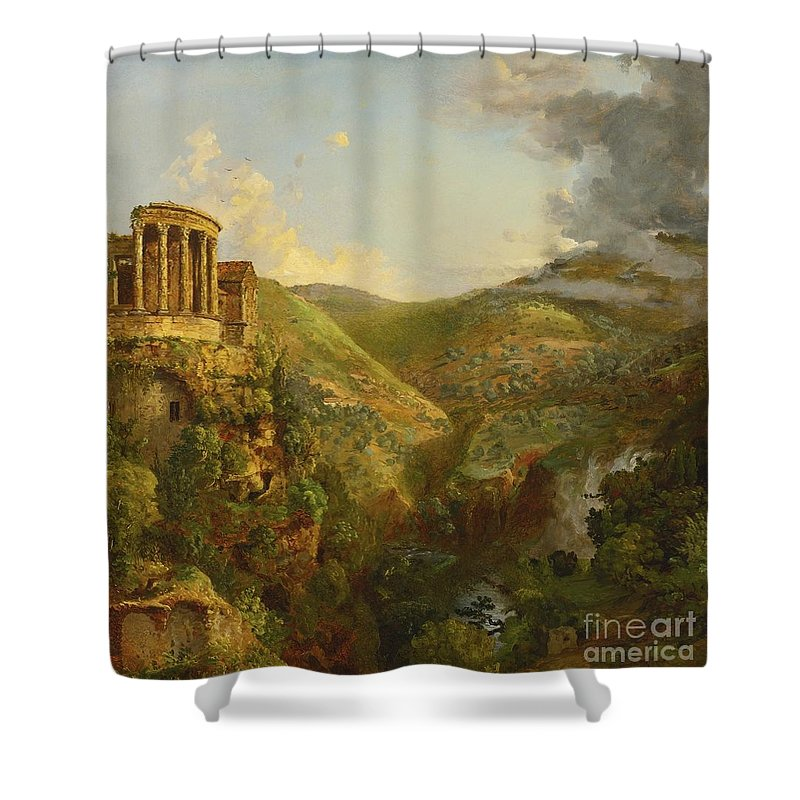 Landscape Shower Curtain featuring the painting Landscape by MotionAge Designs