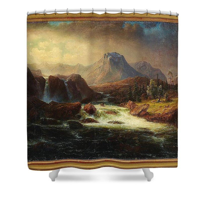 Marcus Larson 1825-1864 Landscape With Rapids Shower Curtain featuring the painting Landscape by Marcus Larson