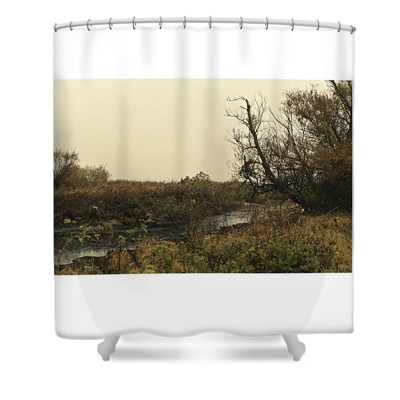 Stausee Shower Curtain featuring the photograph #landscape #stausee #mothernature #tree by Mandy Tabatt
