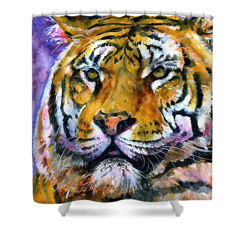 Tiger Shower Curtain featuring the painting Landscape Tiger by John D Benson