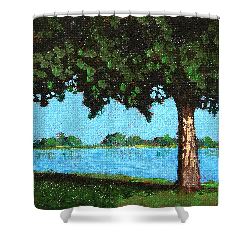 Water Shower Curtain featuring the painting Landscape With A Lake And Tree by Masha Batkova