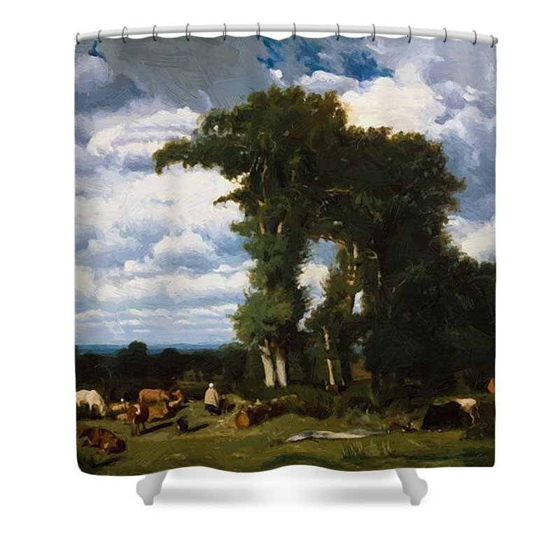 Landscape Shower Curtain featuring the painting Landscape With Cattle At Limousin 1837 by Dupre Jules