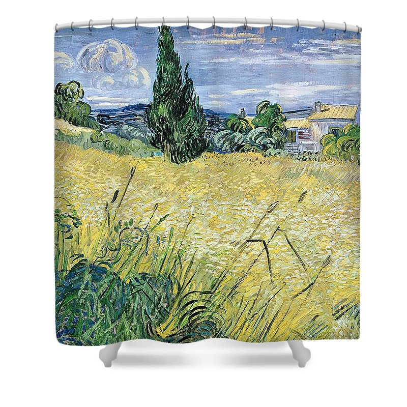 Vincent Van Gogh Shower Curtain featuring the painting Landscape with Green Corn by Vincent Van Gogh