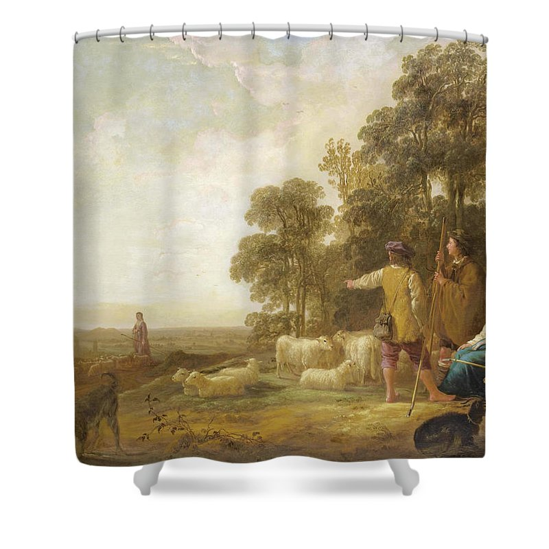 Aelbert Cuyp Shower Curtain featuring the painting Landscape With Shepherds And Shepherdesses Near A Well by Aelbert Cuyp