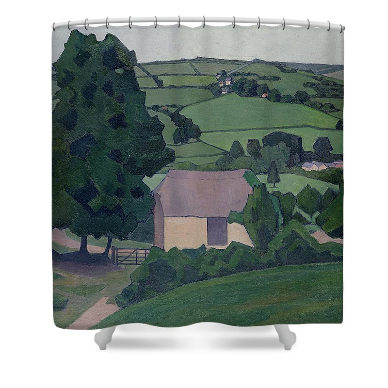 Landscape Shower Curtain featuring the painting Landscape With Thatched Barn by Robert Polhill Bevan