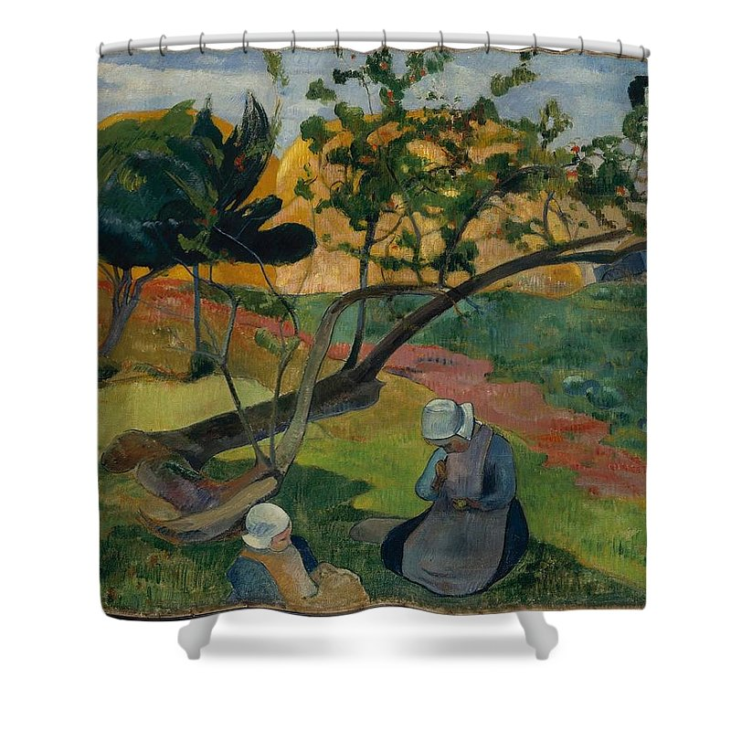 Landscape With Two Breton Women 1889 Paul Gauguin (french Shower Curtain featuring the painting Landscape With Two Breton Women by MotionAge Designs