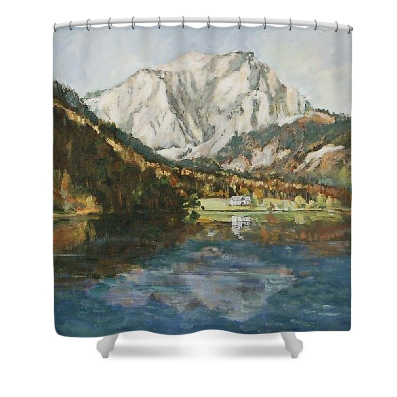 Landscape Shower Curtain featuring the painting Langbathsee Austria by Alexandra Maria Ethlyn Cheshire