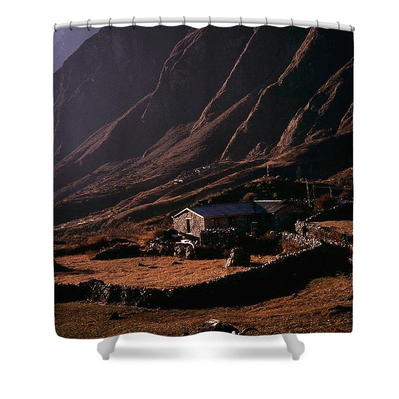 Langtang Shower Curtain featuring the photograph Langtang Village by Patrick Klauss