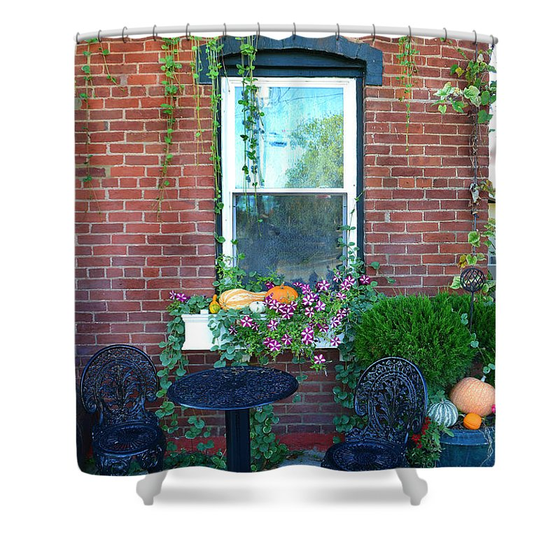 Winery Shower Curtain featuring the photograph Lanier Winery Bistro Table by Amy Lucid