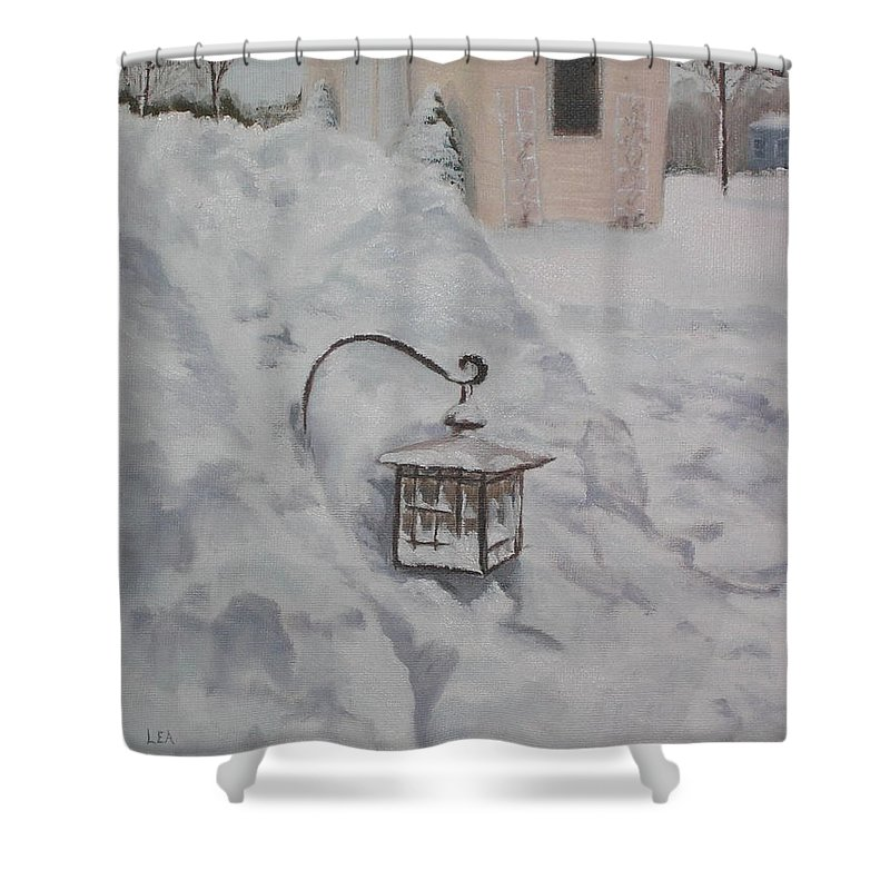 Snow Shower Curtain featuring the painting Lantern In The Snow by Lea Novak