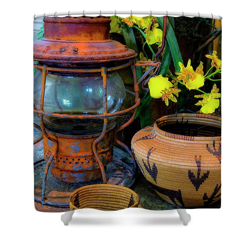 Lantern Shower Curtain featuring the photograph Lantern With Baskets by Stephen Anderson