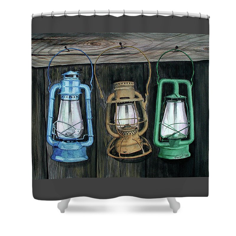 Lanterns Shower Curtain featuring the painting Lanterns by Ferrel Cordle