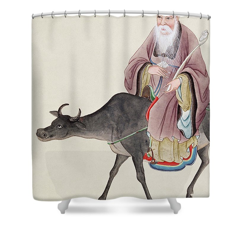 Tao Shower Curtain Featuring The Painting Lao Tzu On His Buffalo By Chinese School