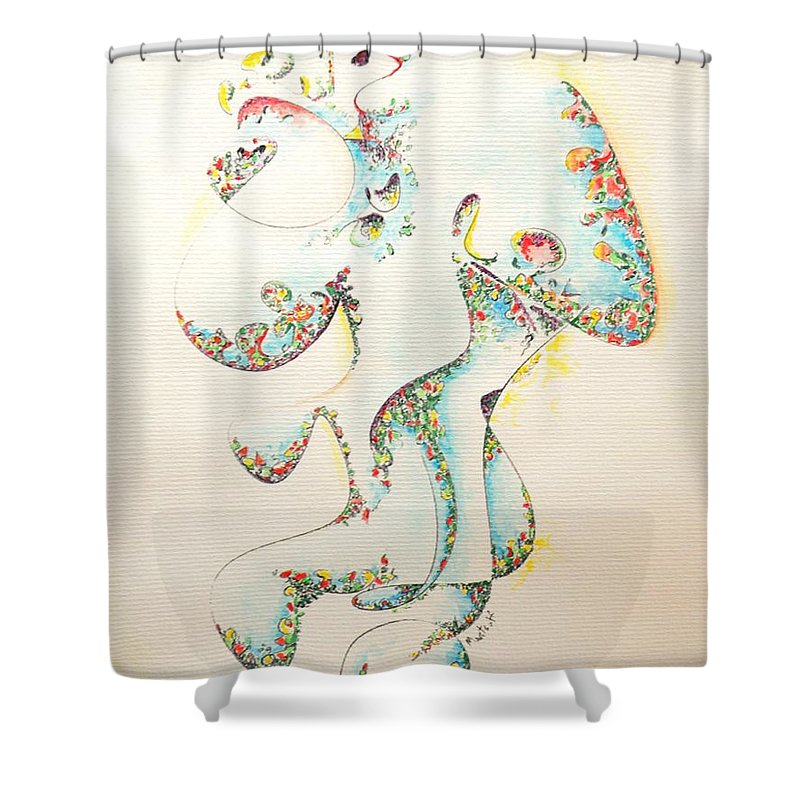 Fertility Shower Curtain featuring the painting Lapis Lazuli Bejeweled Fertility Goddess by Dave Martsolf
